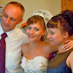 Сын Евгений с дочерью Стасей и женой Надеждой